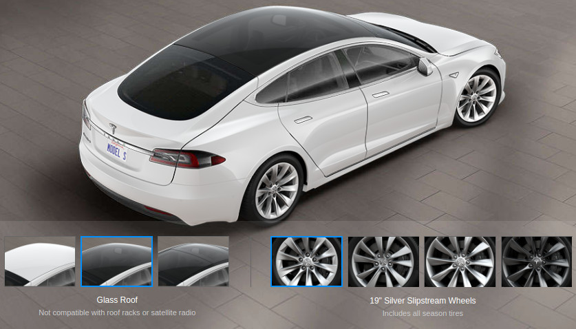 Tesla Model S with glass roof
