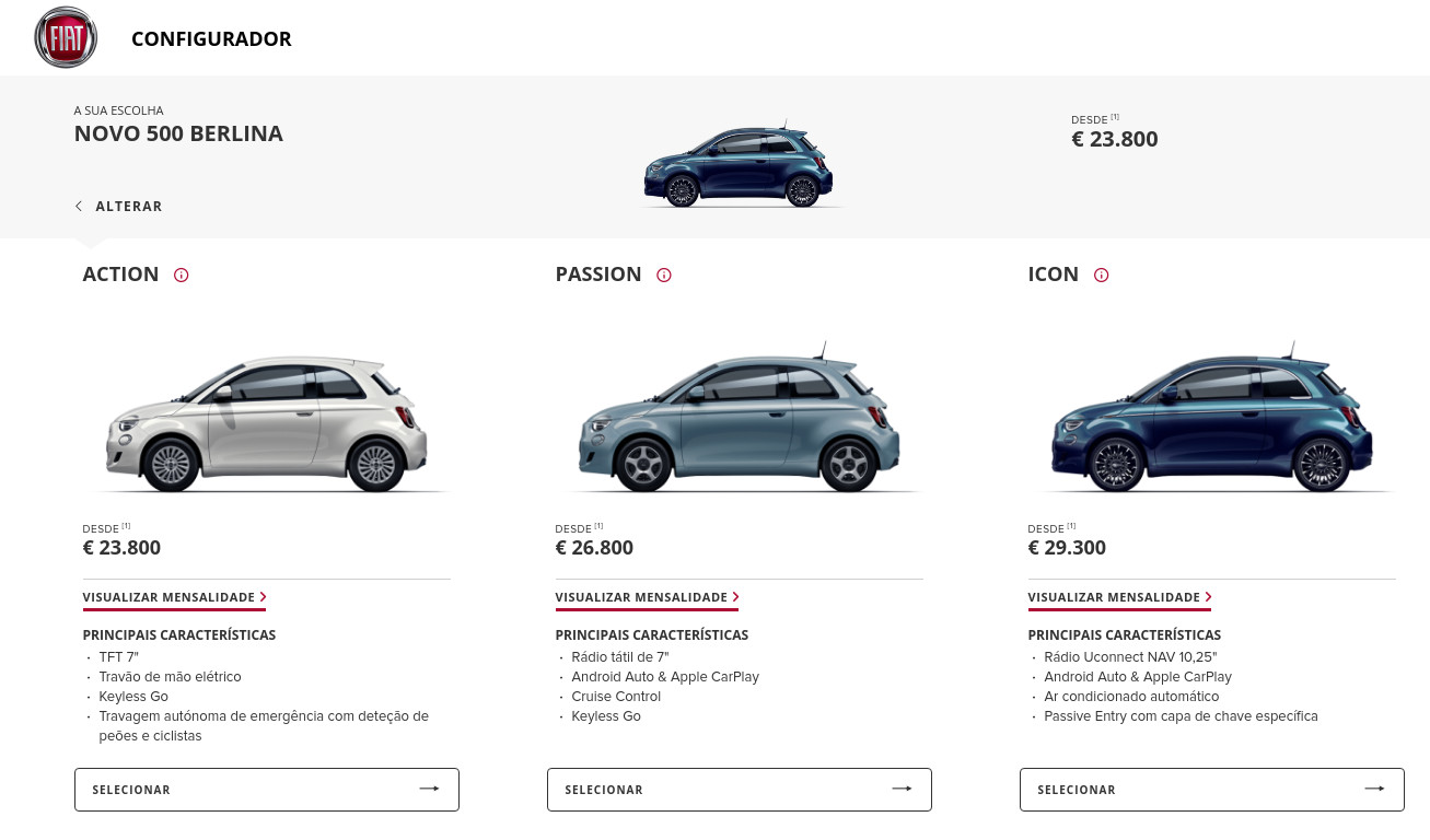 New FIAT 500 prices in Portugal